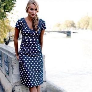 "Boden ""Regatta"" Polka Dot Dress in Navy"
